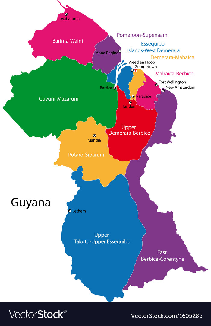 Guyana map Royalty Free Vector Image - VectorStock