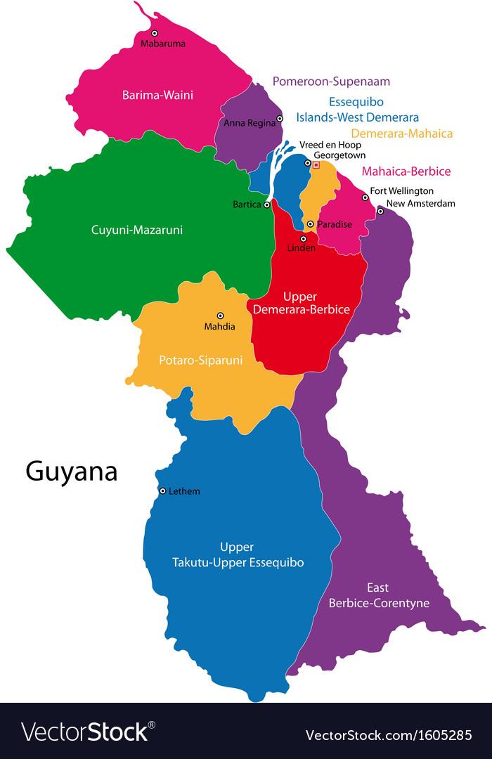 Guyana Map Royalty Free Vector Image Vectorstock