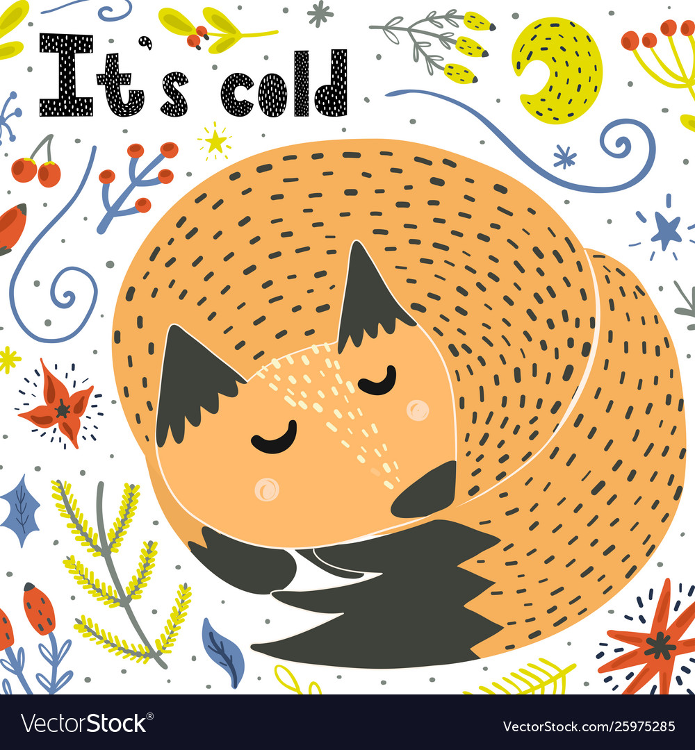 Its cold card with a cute sleeping fox