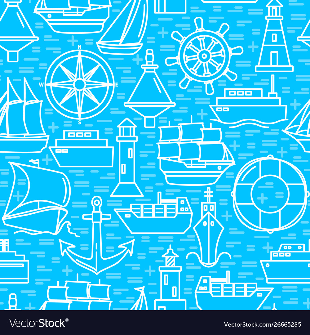 Ocean seamless pattern with ship icons in line