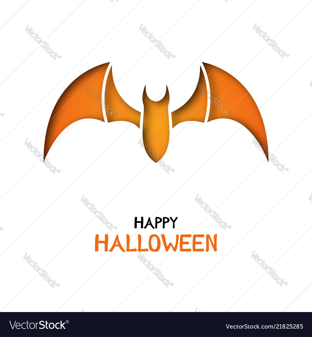 Origami Greeting Card With Bat For Halloween Vector Image