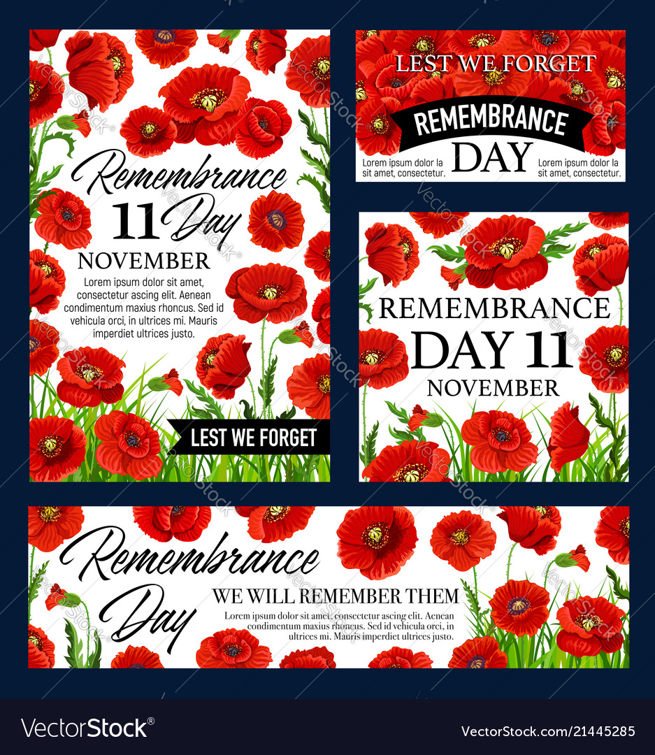 Red Poppy Flower Remembrance Day Memorial Banner Vector Image