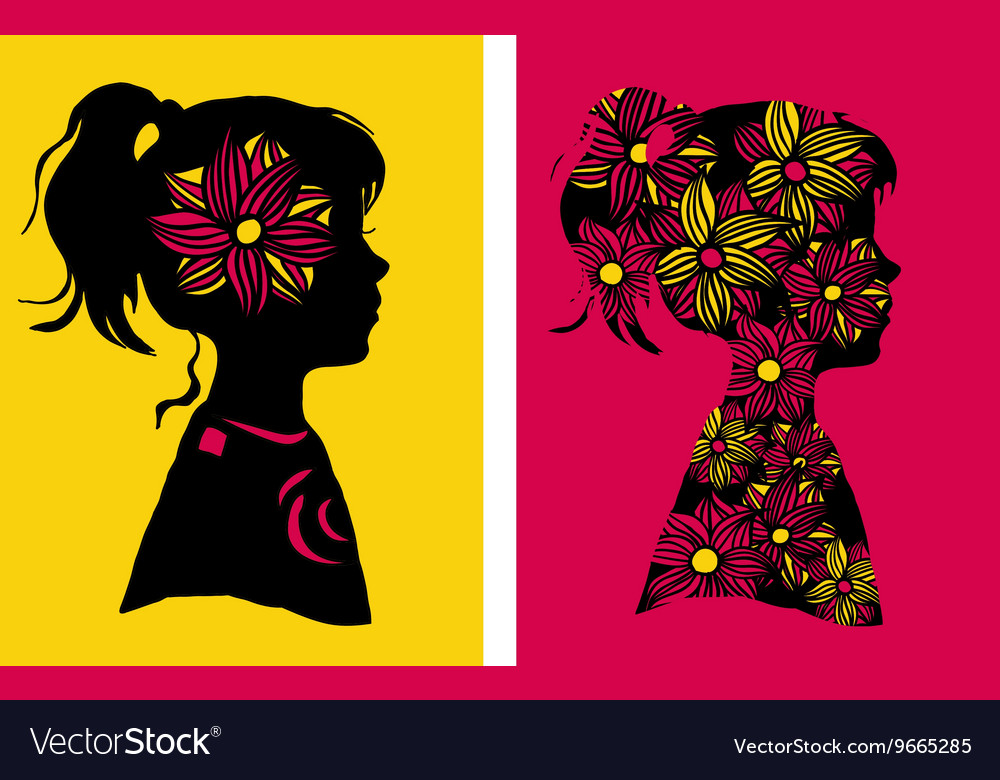 Two silhouttes of girl with flower pattern vector image