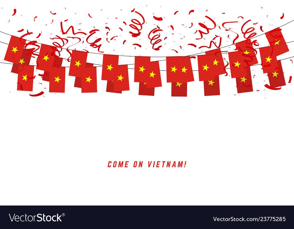 Vietnam garland flag with confetti