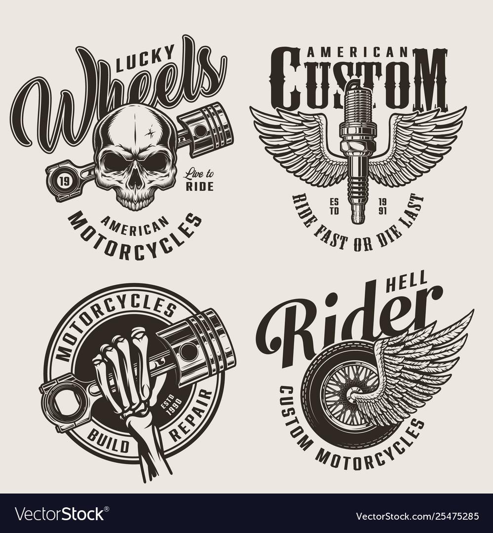 Vintage motorcycle repair service emblems