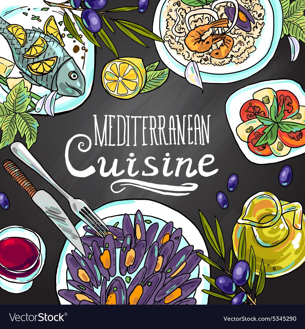 Beautiful hand-draw mediterranean cuisine- food on