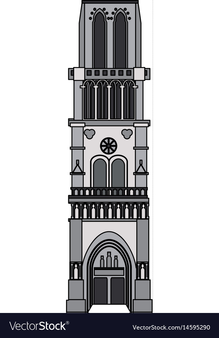 Color image cartoon building architecture column vector image
