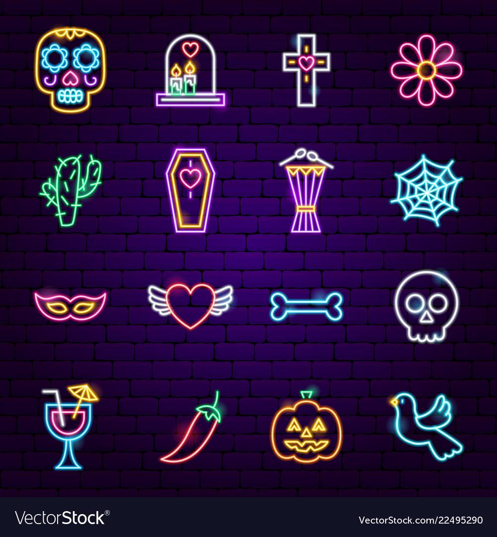 Dia de los muertos neon icons