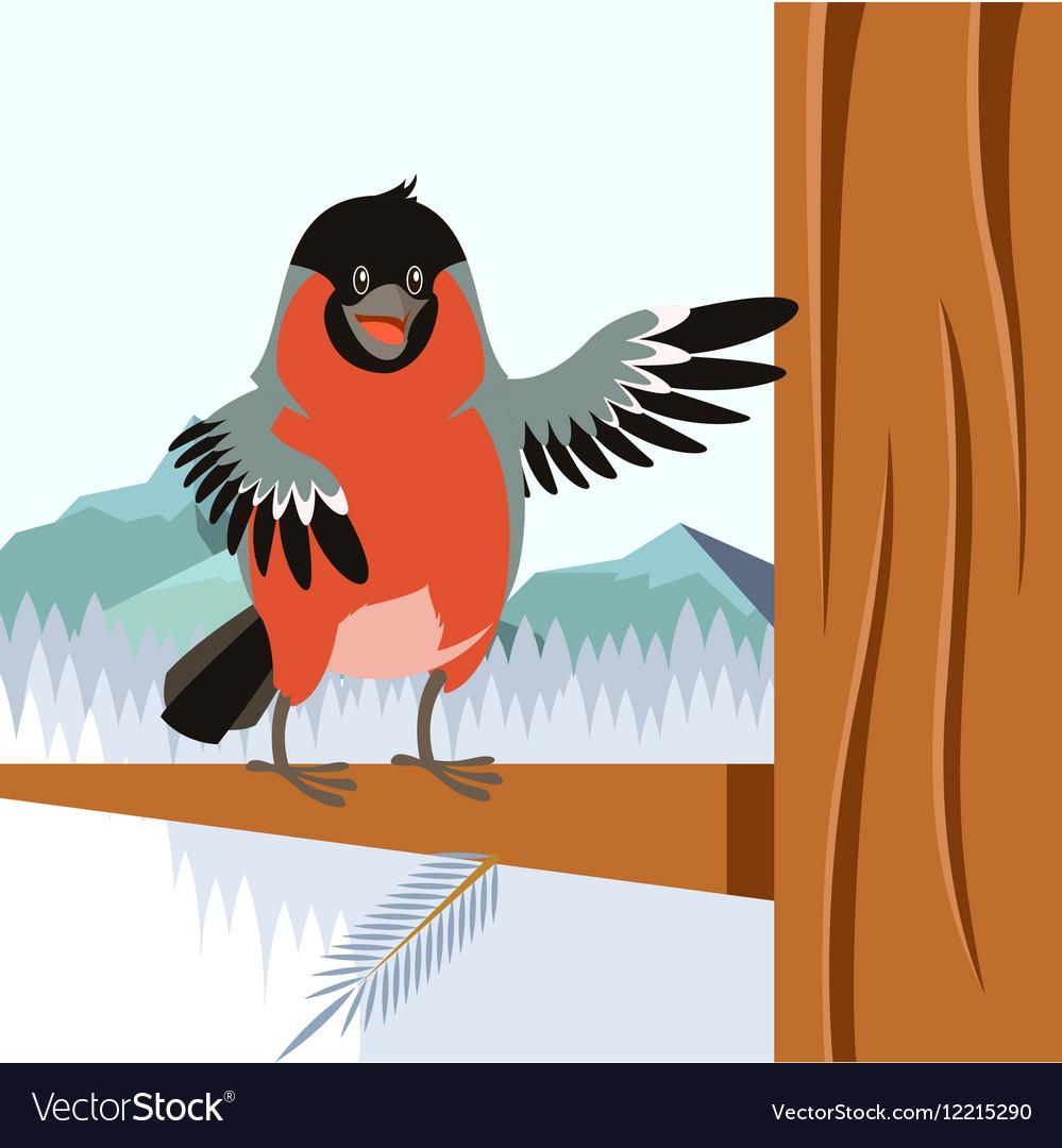 Happy Bullfinch on the Tree winter flat background