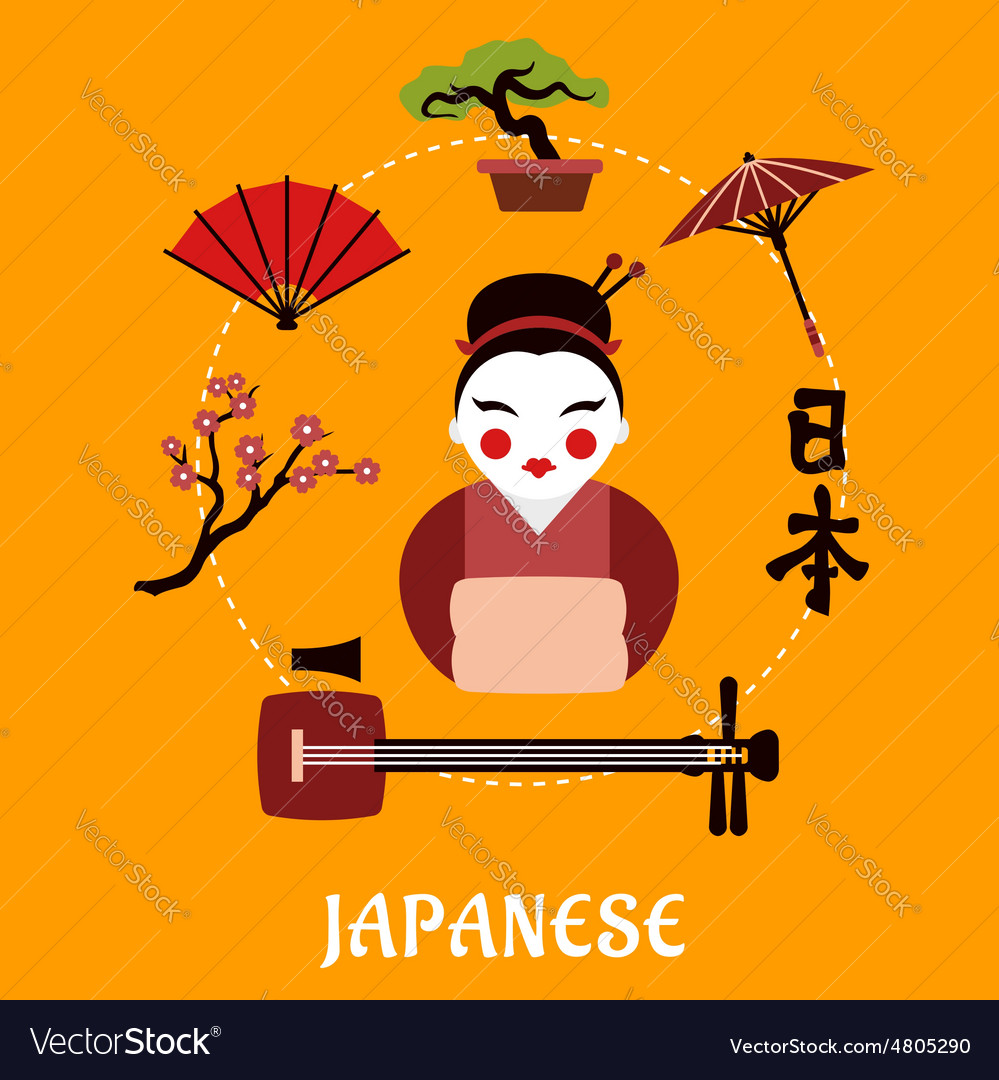 Japanese travel and cultural concept vector image
