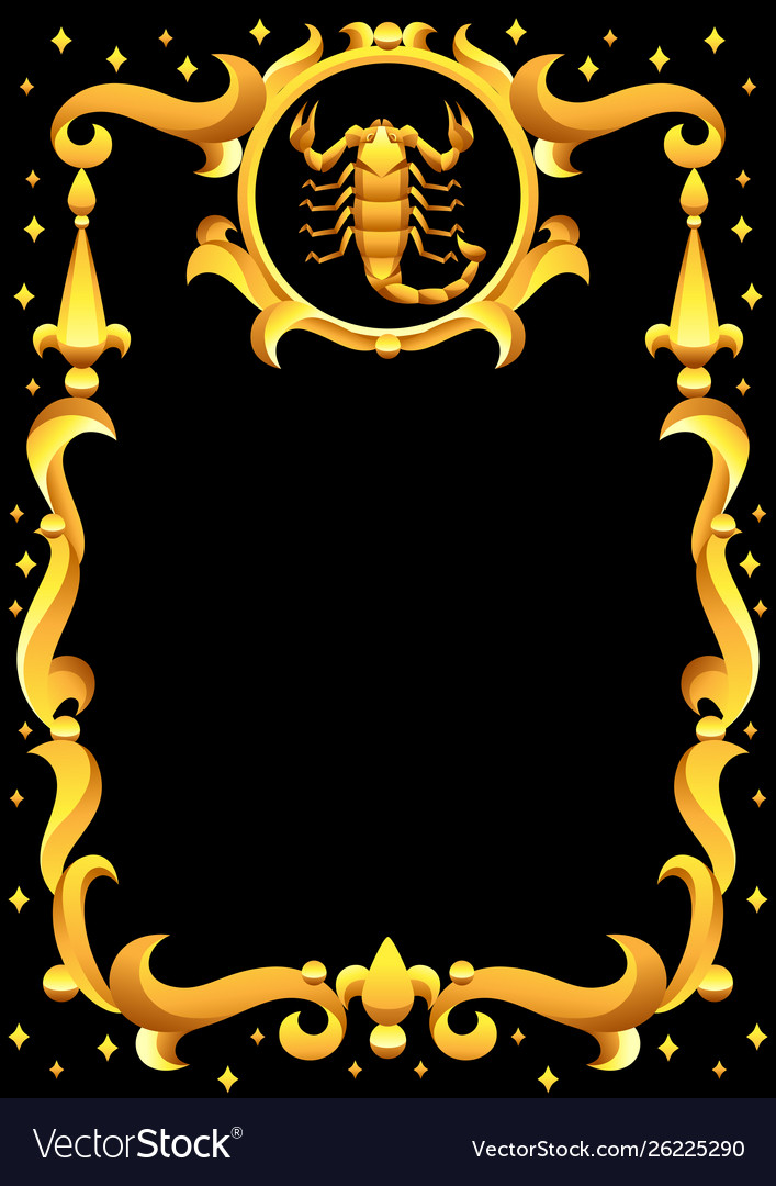 Scorpio zodiac sign with golden frame horoscope