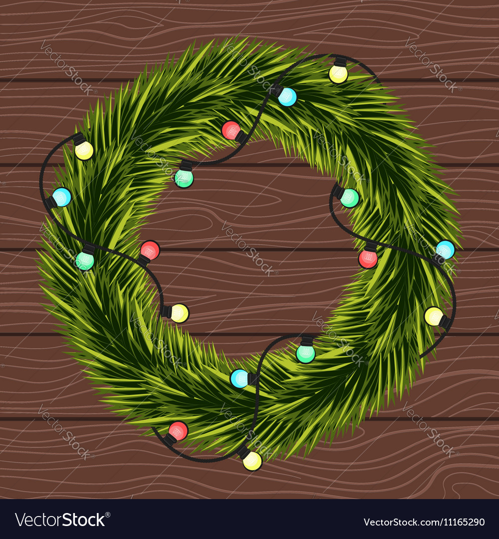 Wreath of Christmas tree branches with a garland