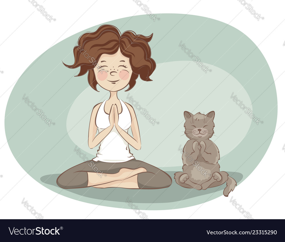 Young woman and cat practicing yoga