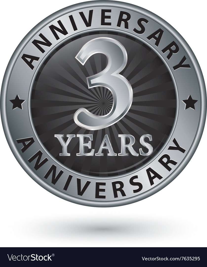 3 years anniversary silver label