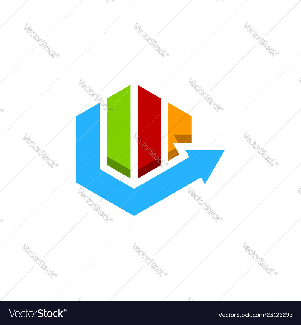 Abstract colorful hexagon financial logo finance