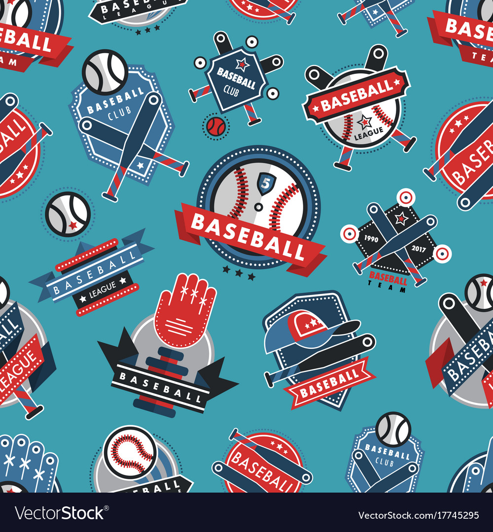 Baseball logo badge seamless pattern background