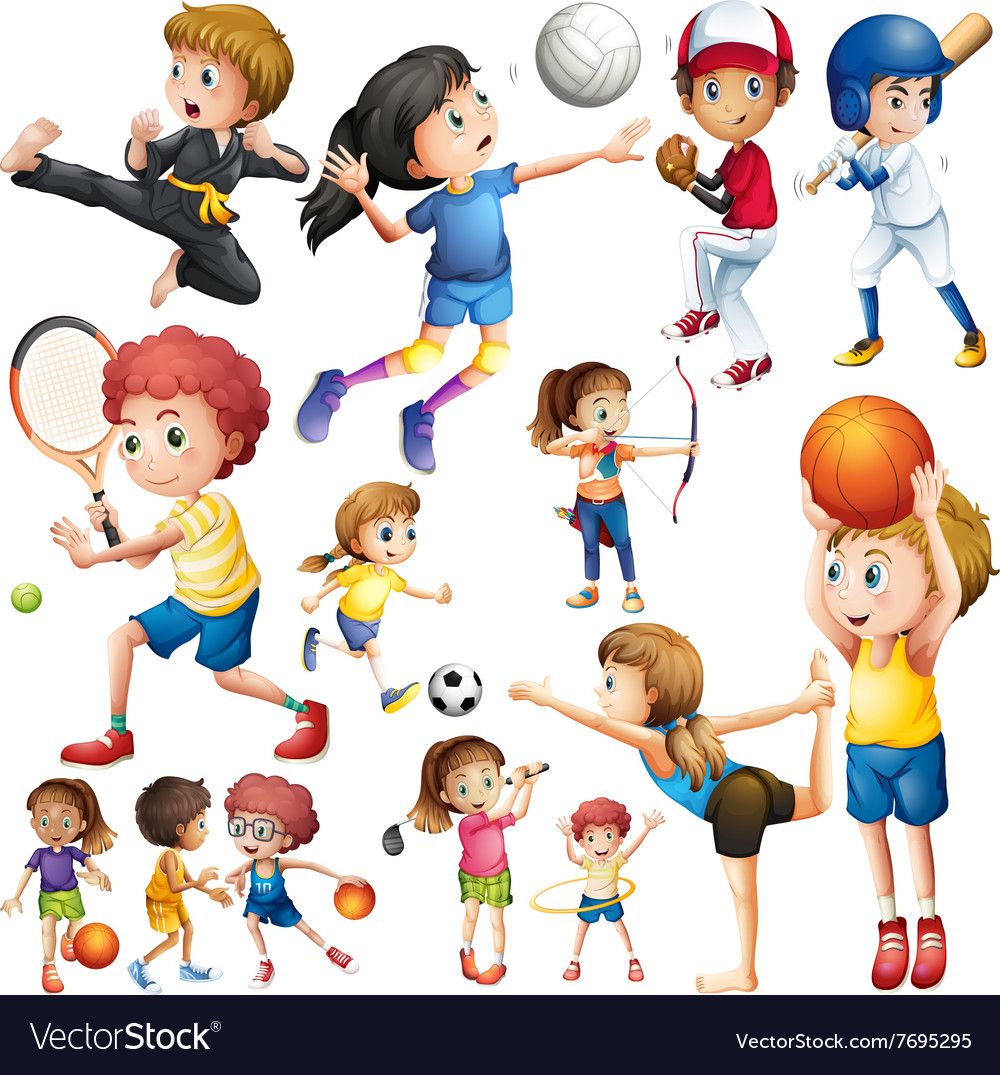 sports different kind children doing vector royalty