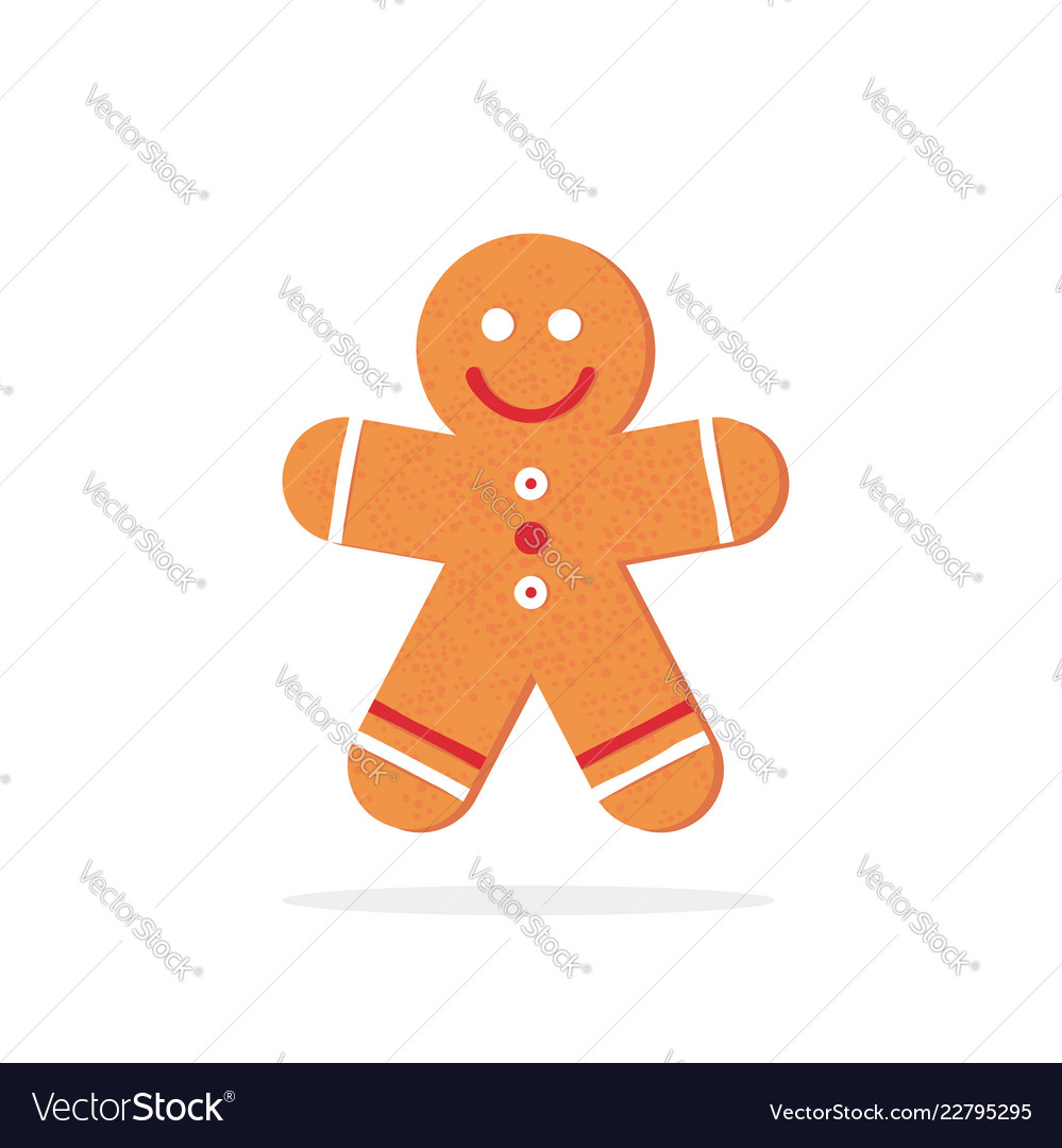 Christmas gingerbread man in flat style