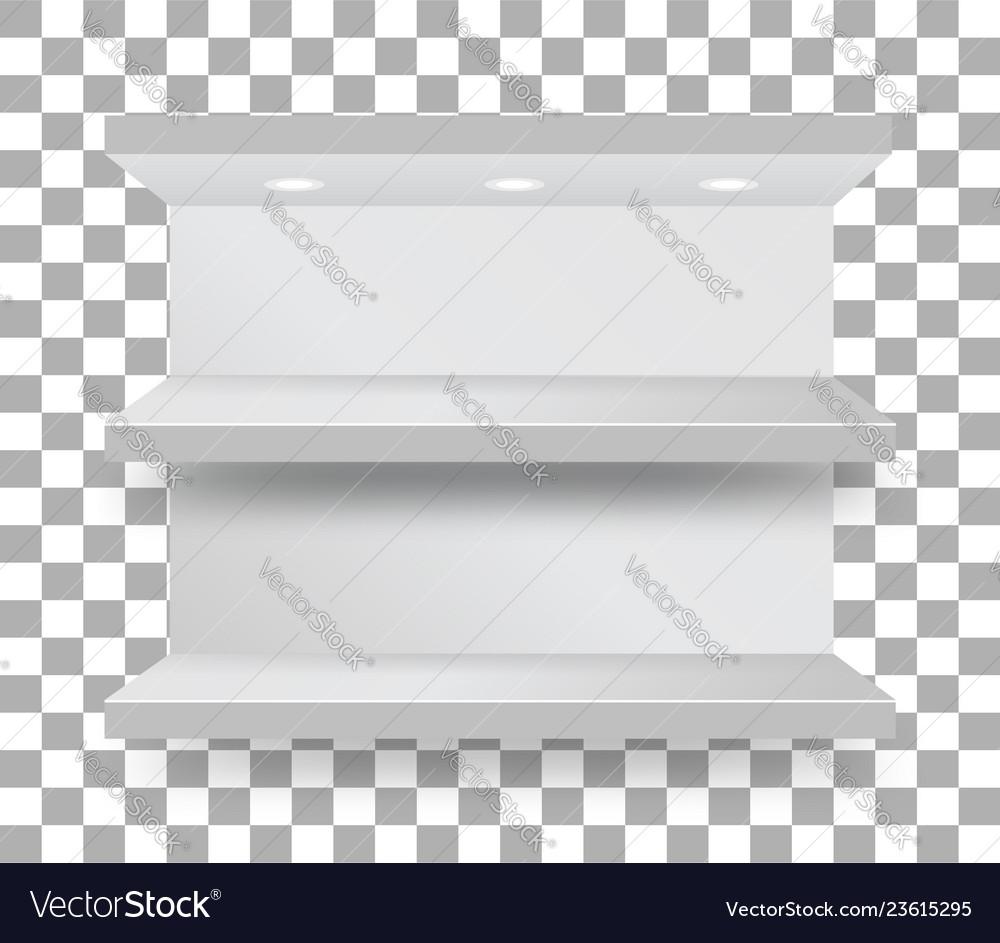 Empty bunk shelf in a supermarket on transparent
