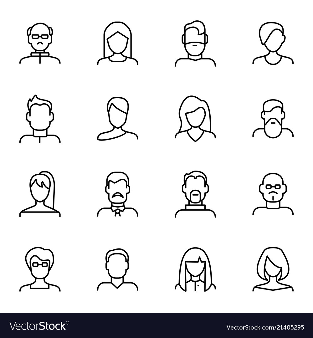 Face various types signs black thin line icon set
