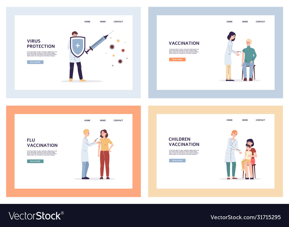 Flu Virus Vaccination Medical Banner Set With Vector Image