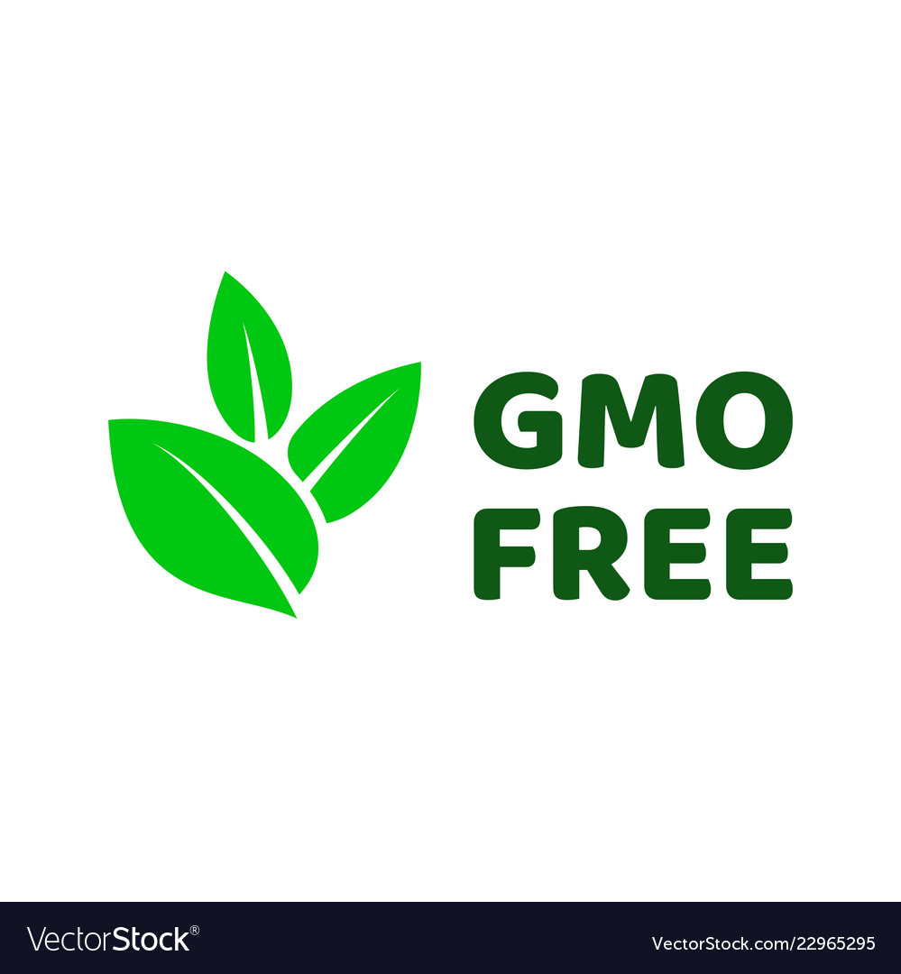 gmo free green leaf label icon royalty free vector image