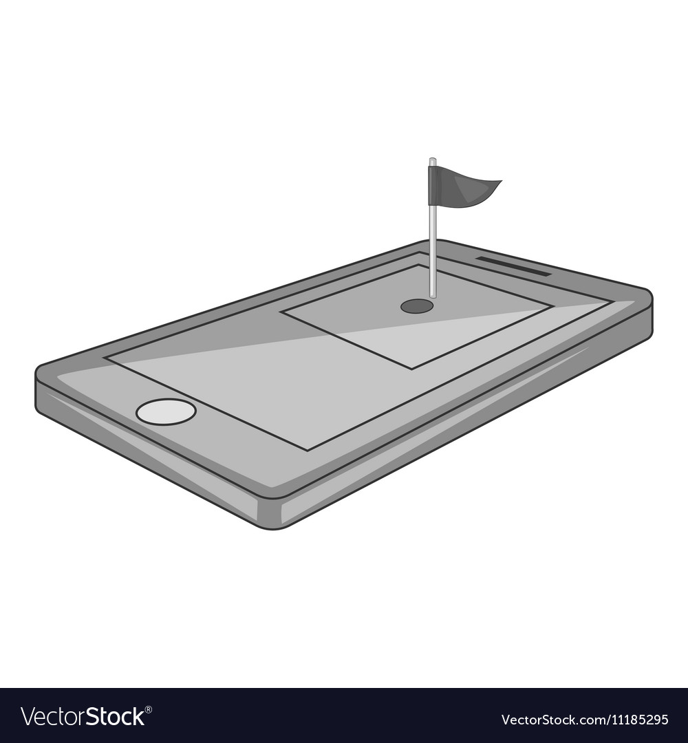 Golf course on phone icon gray monochrome style vector image