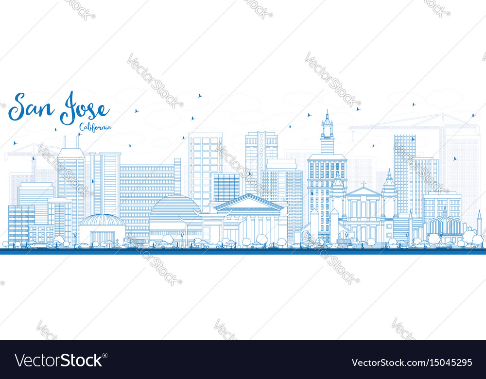 Outline san jose california skyline with blue