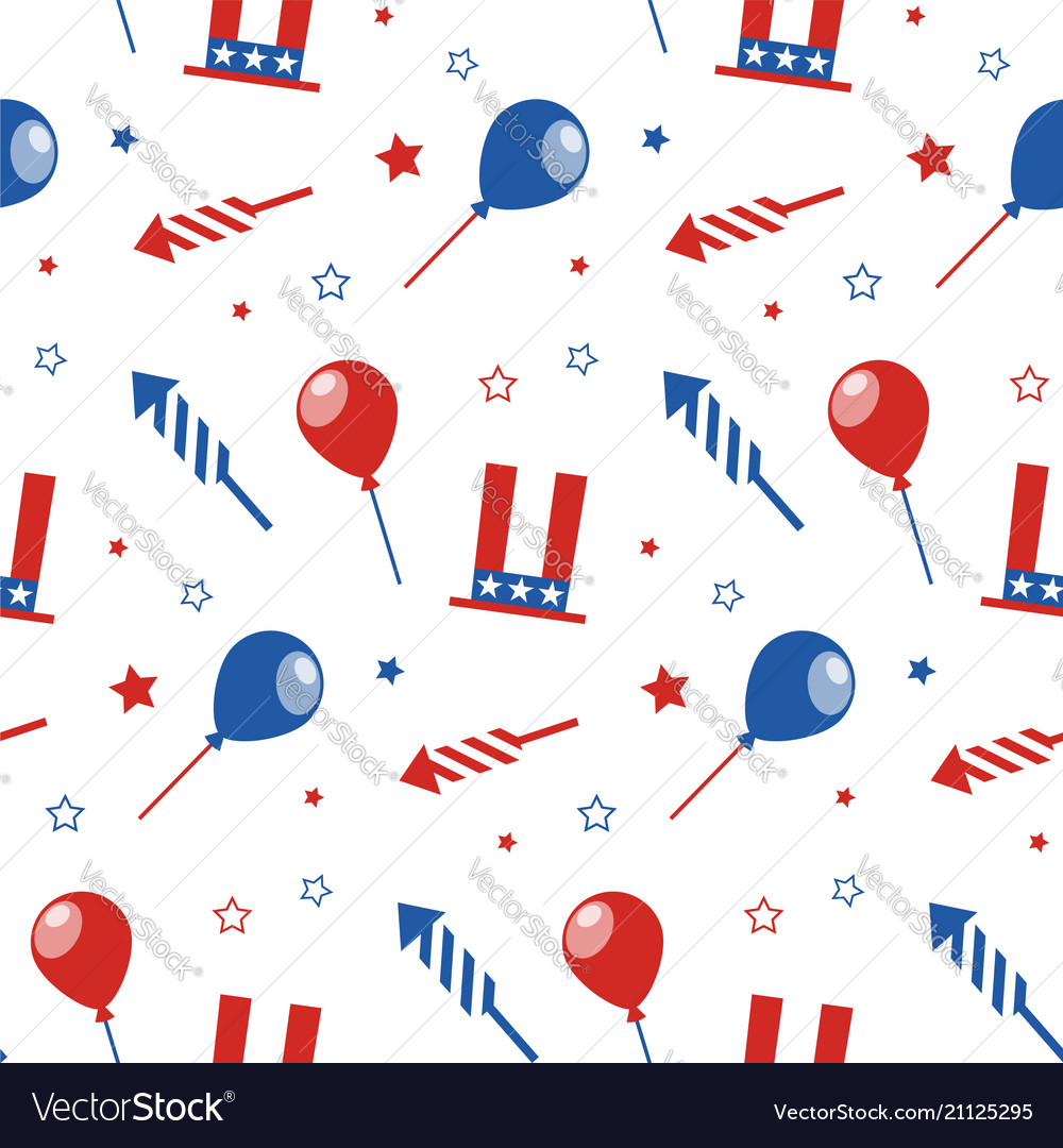 Seamless pattern with festive attributes usa