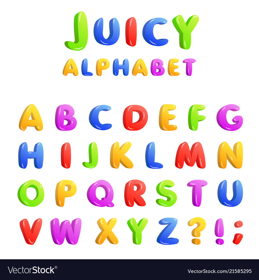 Set of multicolored bright kids letters
