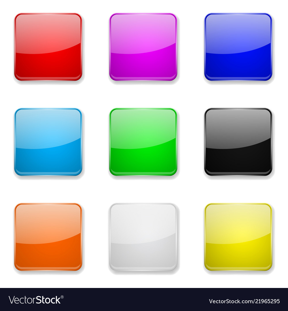 Square glass buttons colored set of 3d icons