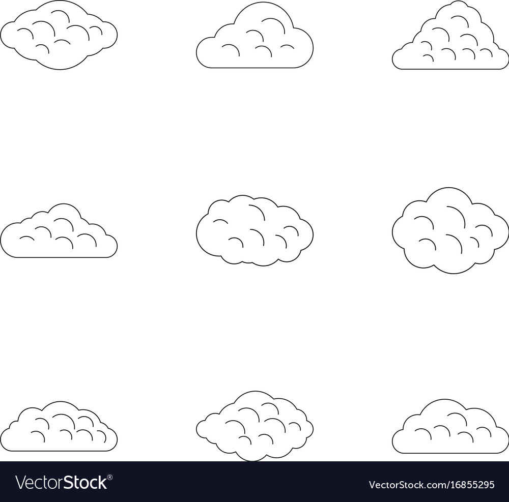 Tropical cloud icon set outline style vector image