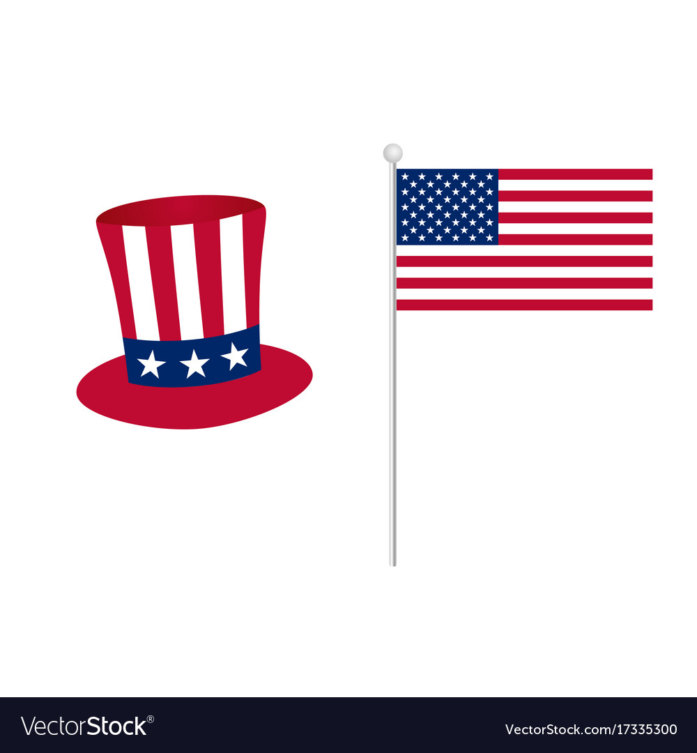 American Flag With Hat Icon Color Royalty Free Vector Image