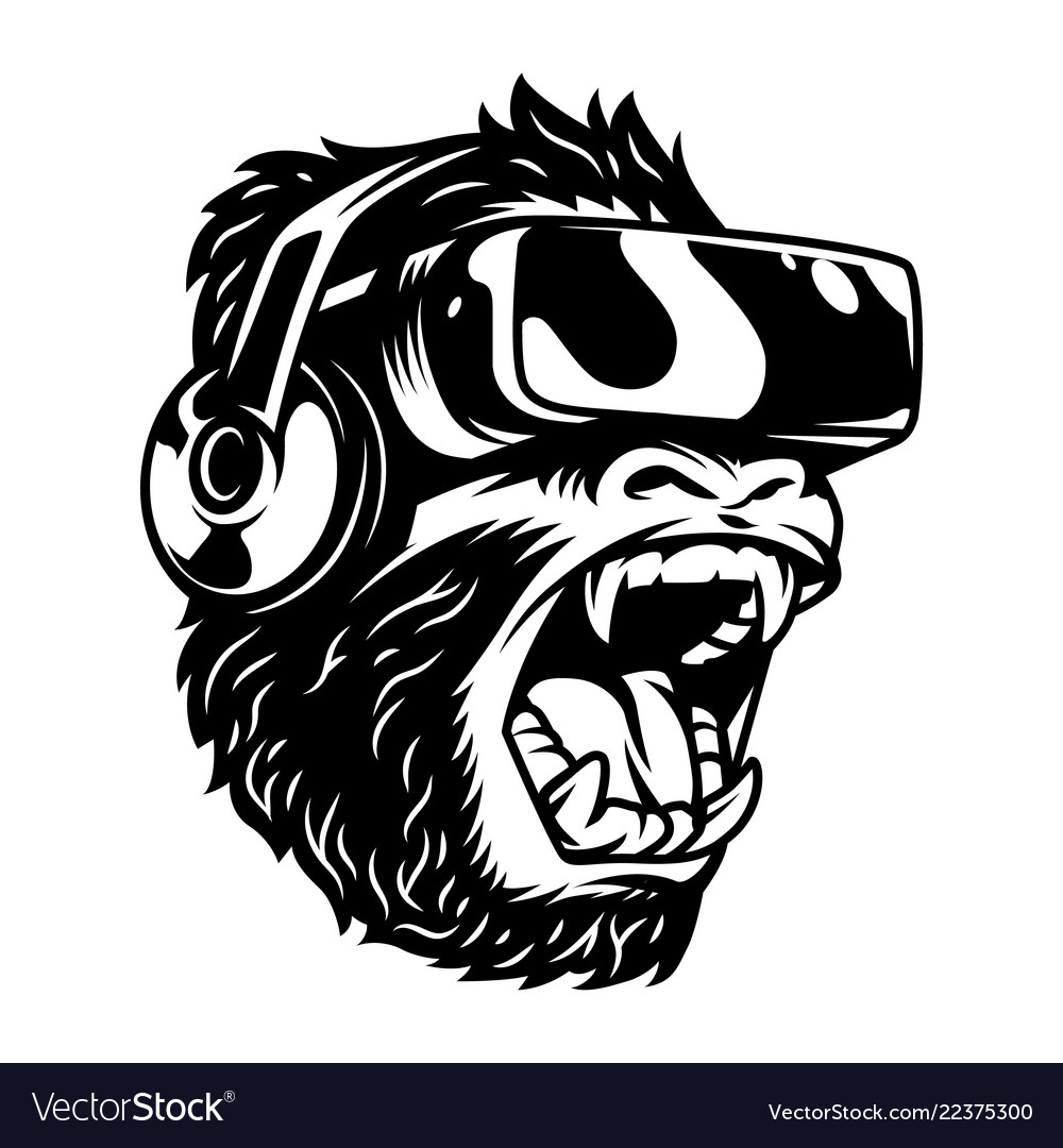 Angry monkey in virtual reality headset