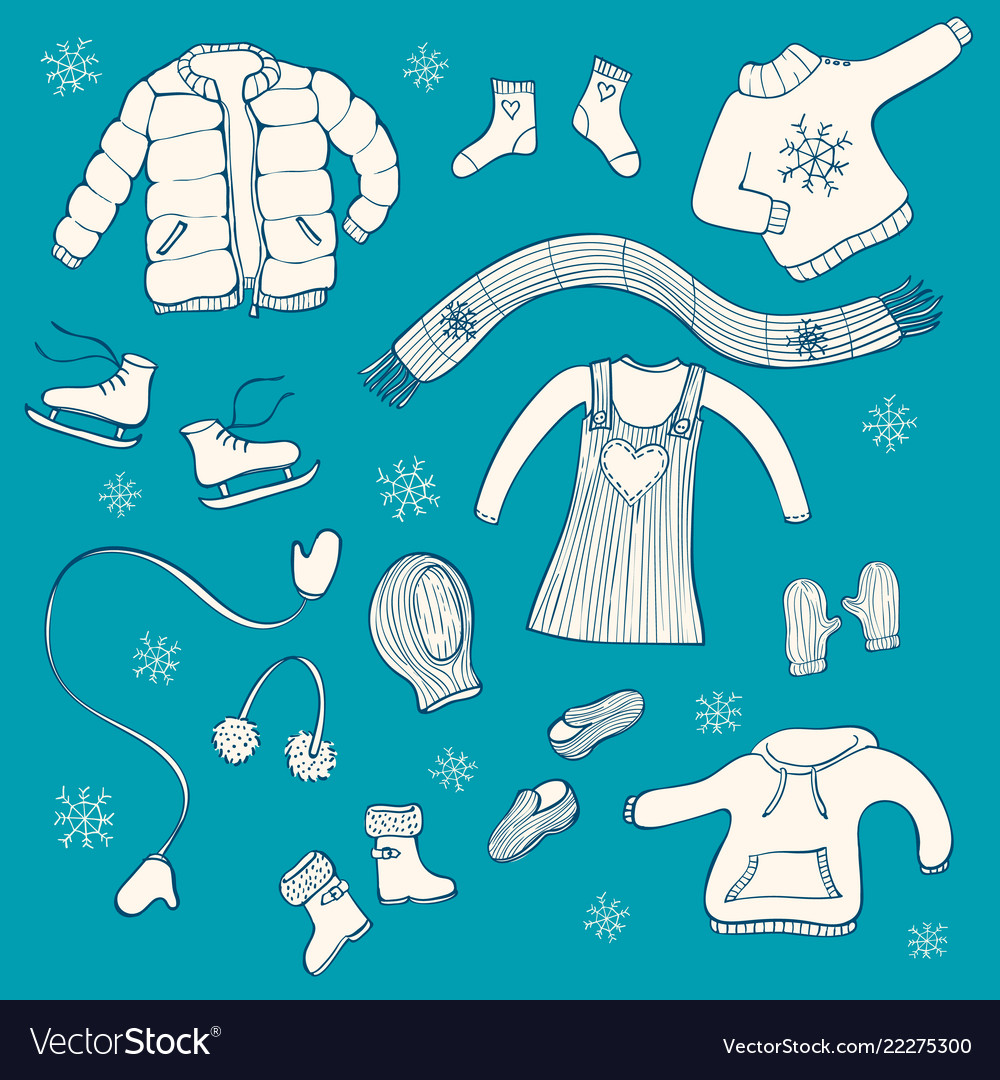 Collection of hand drawn winter clothing