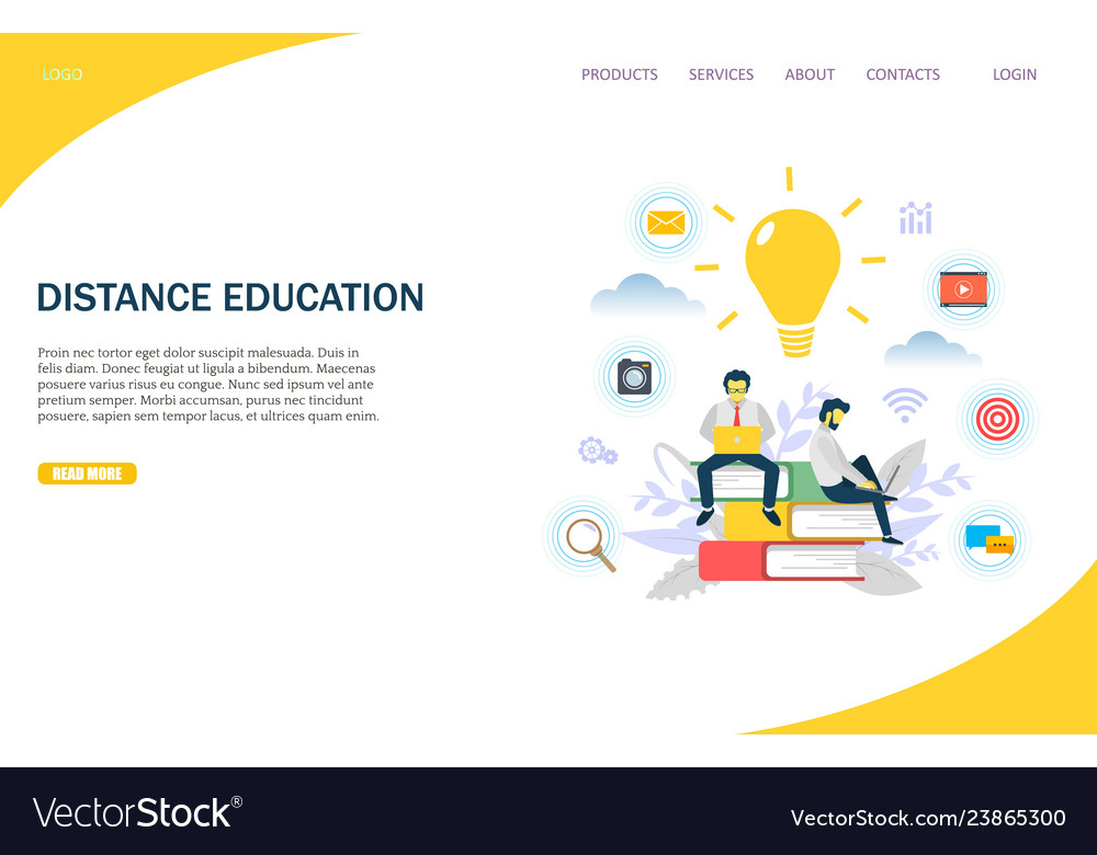 Distance education website landing page