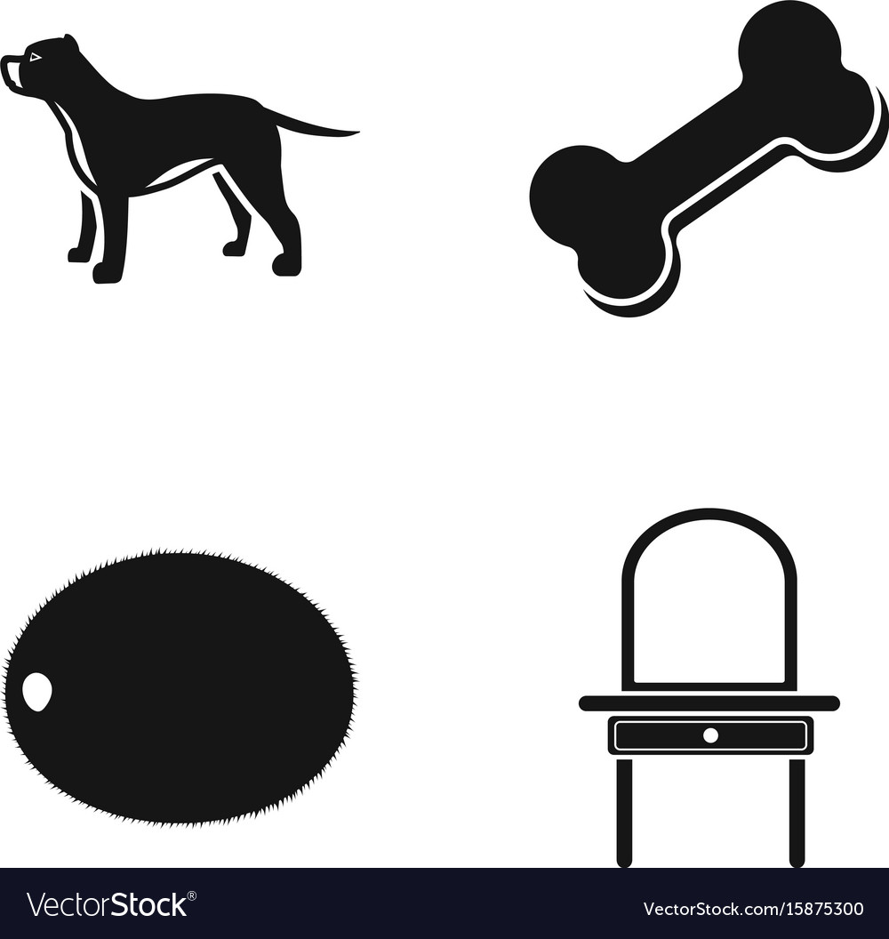 Dog bone and other web icon in black style vector image