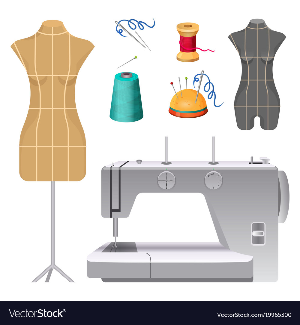 Dummies for clothes and modern electric sewing Vector Image