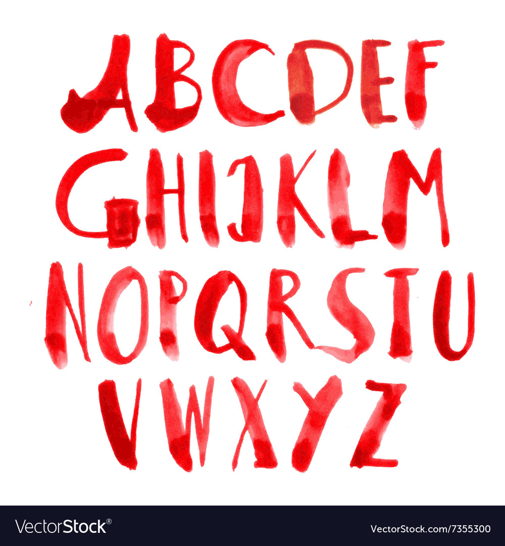 Hand painted grungy alphabet - red