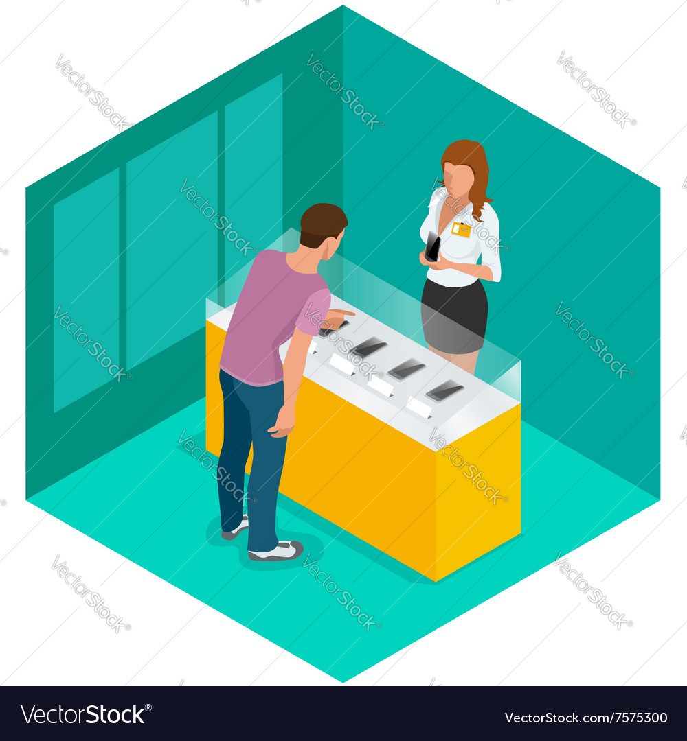 Mobile phone in shop Sale smartphone Flat 3d vector image