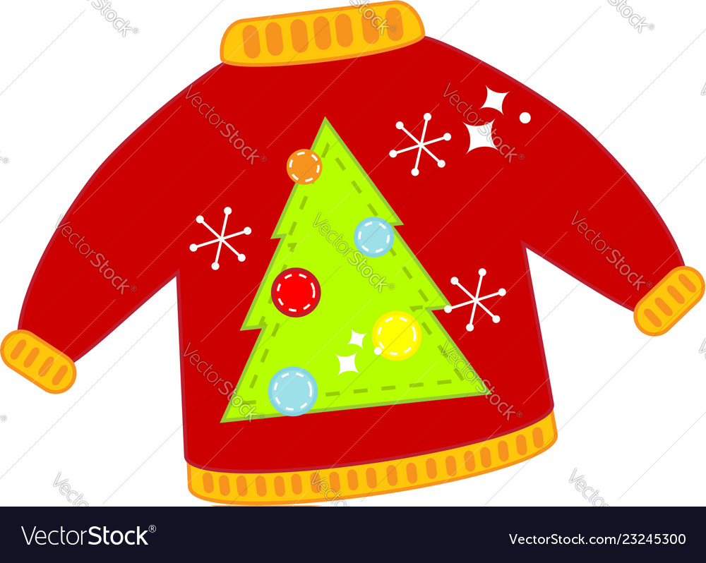 Christmas Sweater Clipart.Red Christmas Ugly Sweater Isolated Clip Art