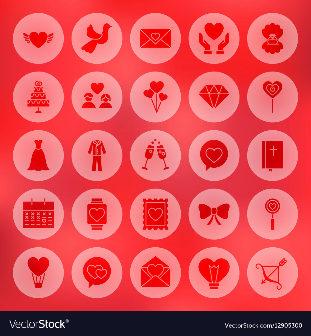 Solid Circle Love Heart Icons vector image