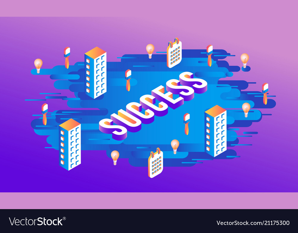Success isometric text design with letters and