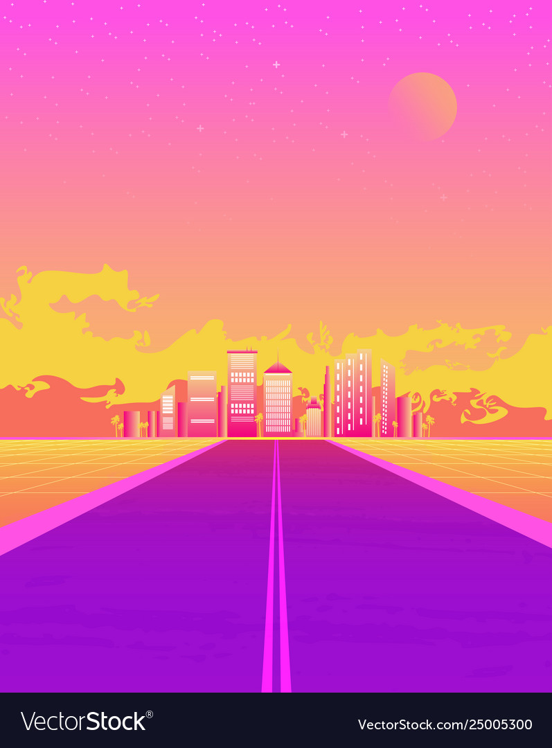 Synthwave with dream road sunset color and city