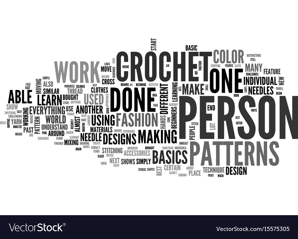 Beginner Crochet Patterns Text Word Cloud Concept Vector Image