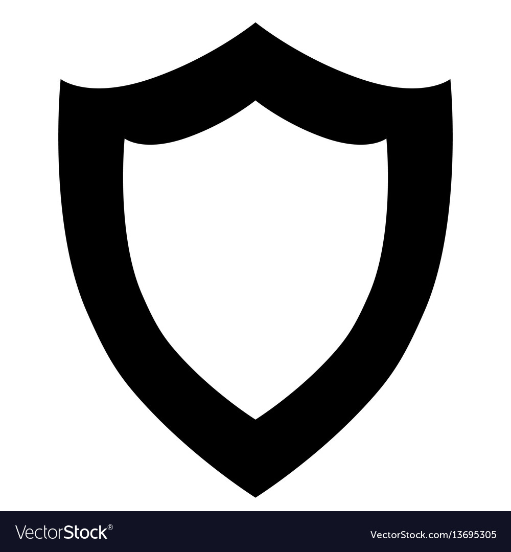 Black shield icon on white background vector image