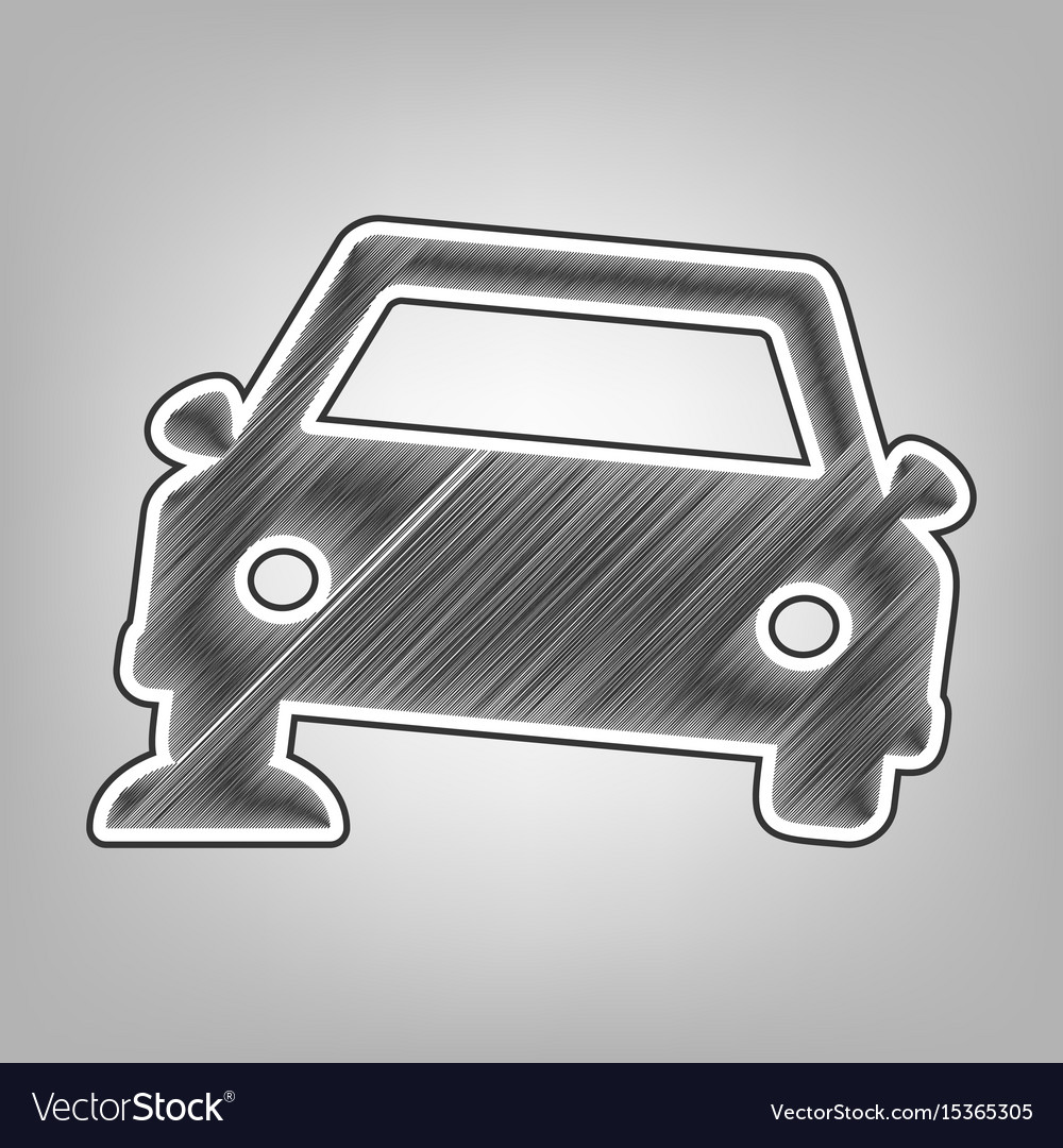 Car parking sign pencil sketch imitation vector image