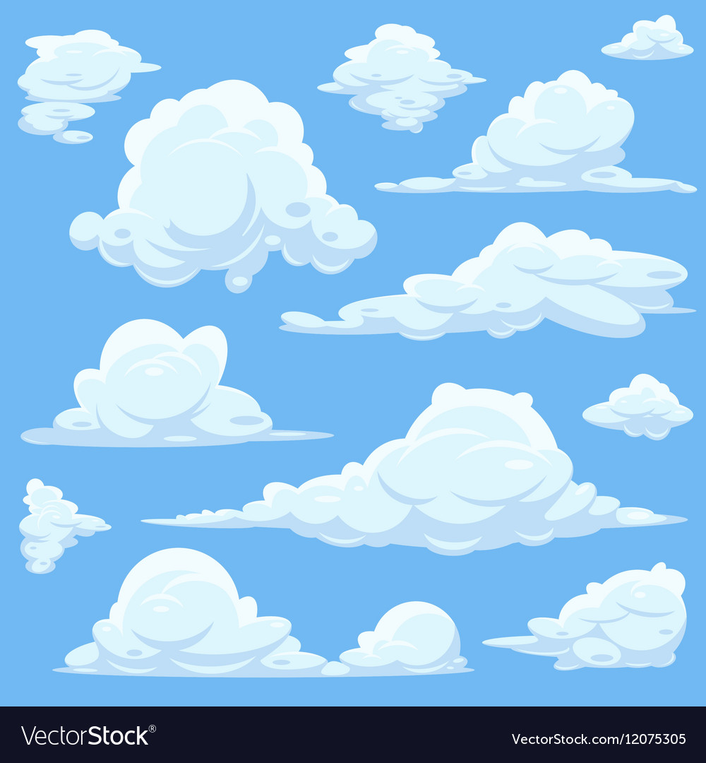cartoon clouds in blue sky royalty free vector image rh vectorstock com skyvector charts sky vector download