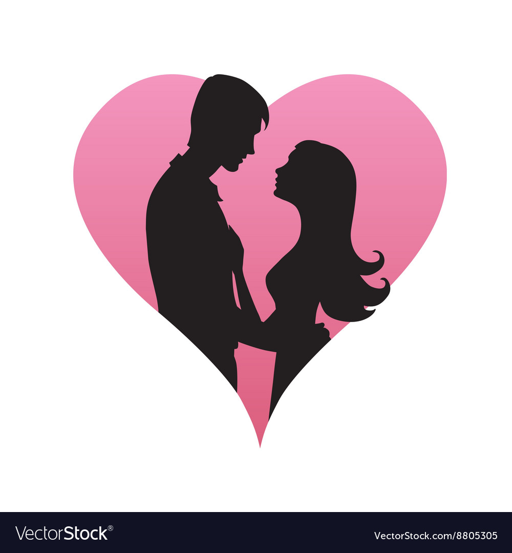 Couple concept Silhouette of man and womans