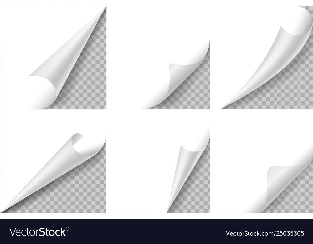 Curled corners set paper page curl corner flip